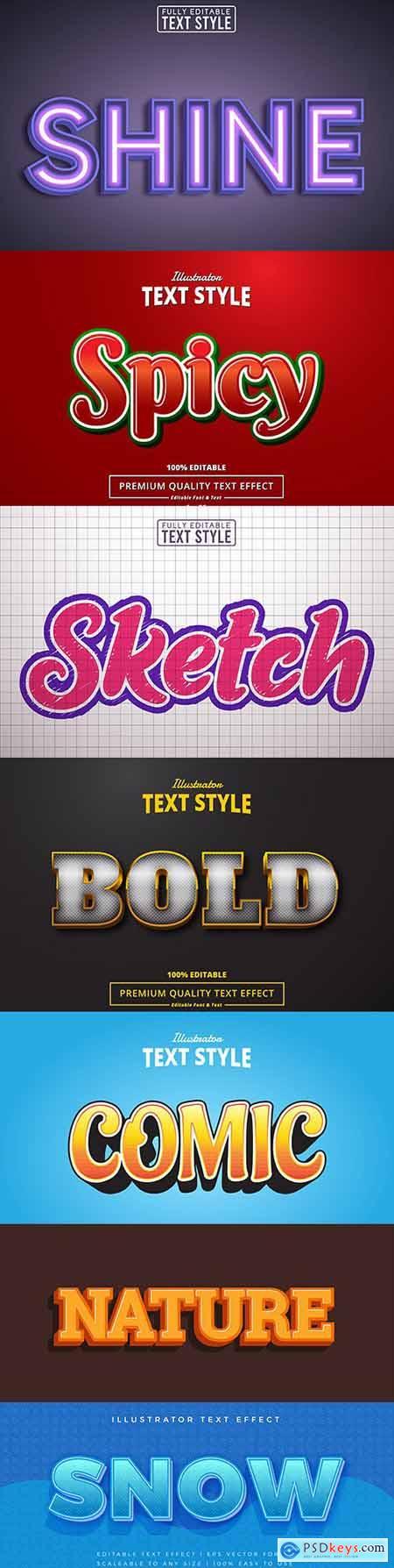 Editable font effect text collection illustration design 51