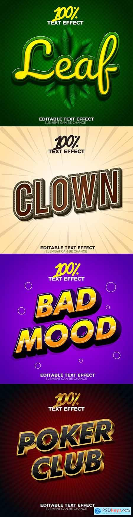 Editable font effect text collection illustration design 43