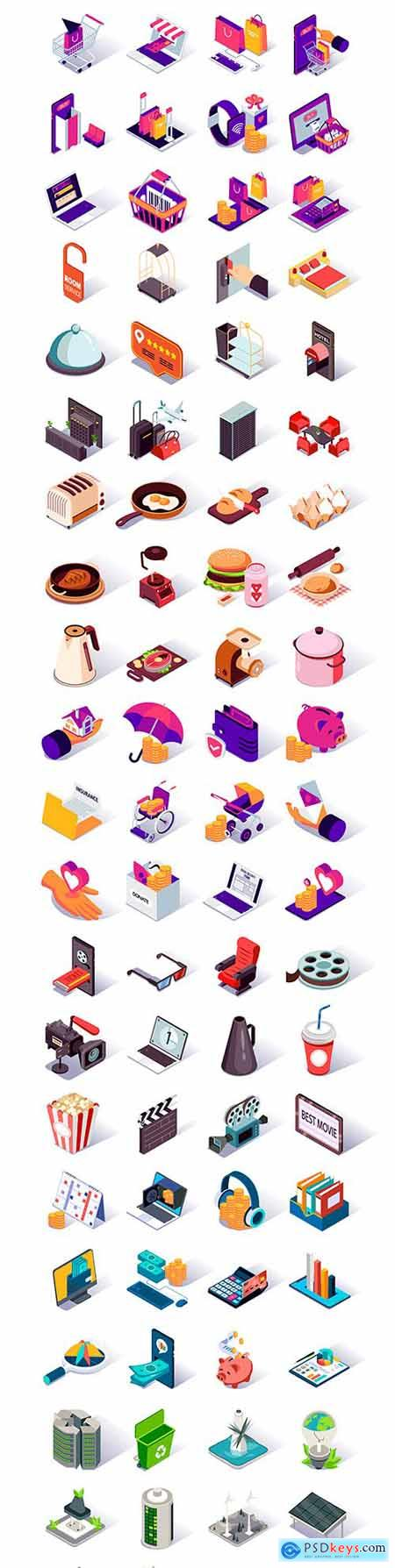 Isometric icons design collection color set