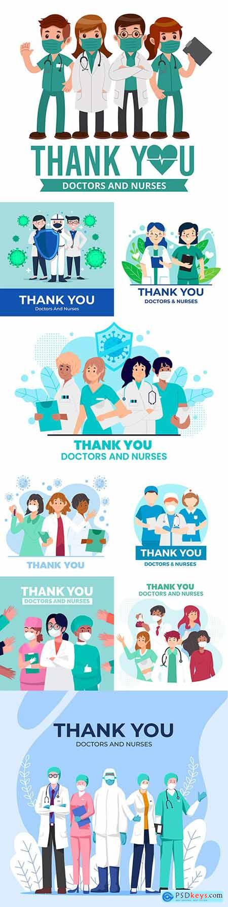 Thank you doctor and nurses medical design illustrations