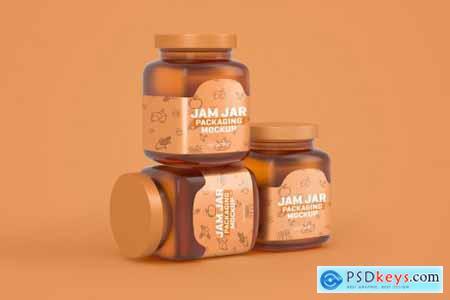 Glass Jam Jar Packaging Mockup 4321463