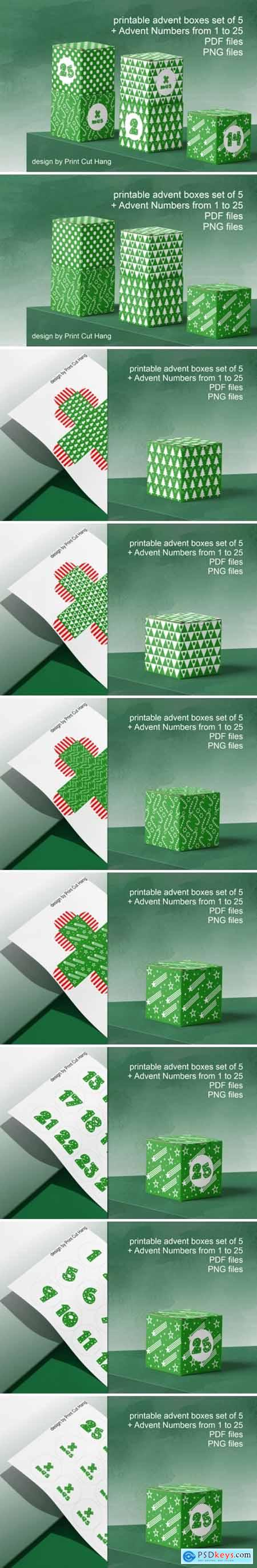 Green Advent Cube Boxes PDF Templates 3806070