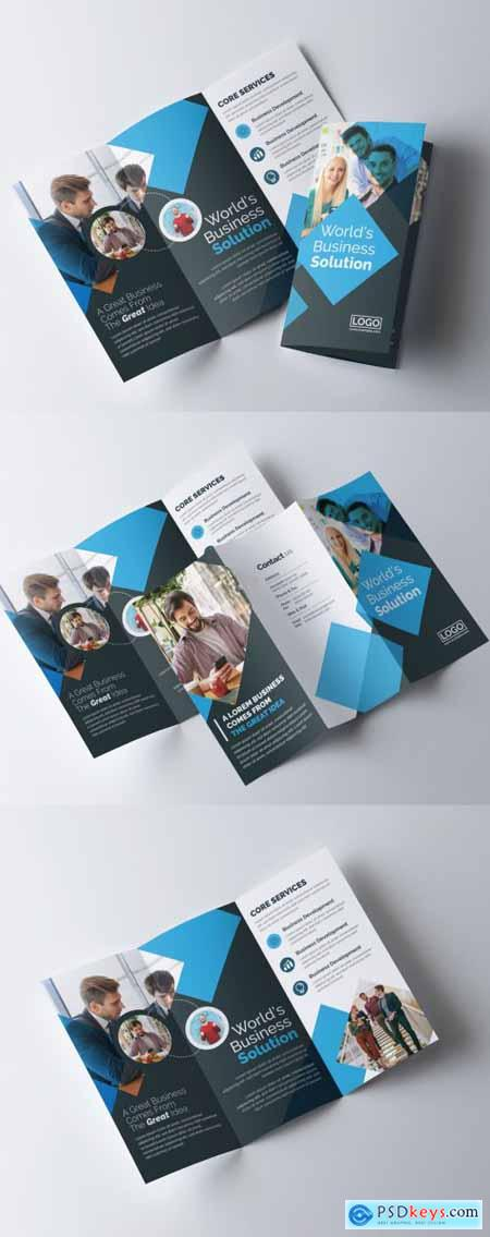 Corporate Trifold Brochure with Blue & Dark Layout 335409974