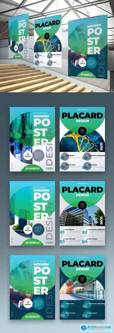 Business Poster Layout in Green Colors 334853031