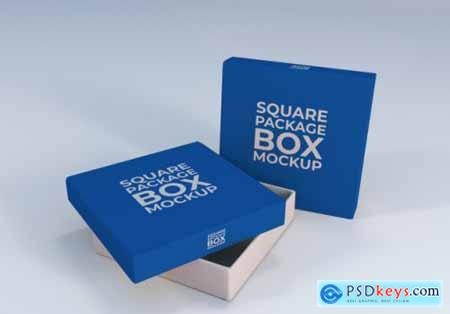 Square package box mockup