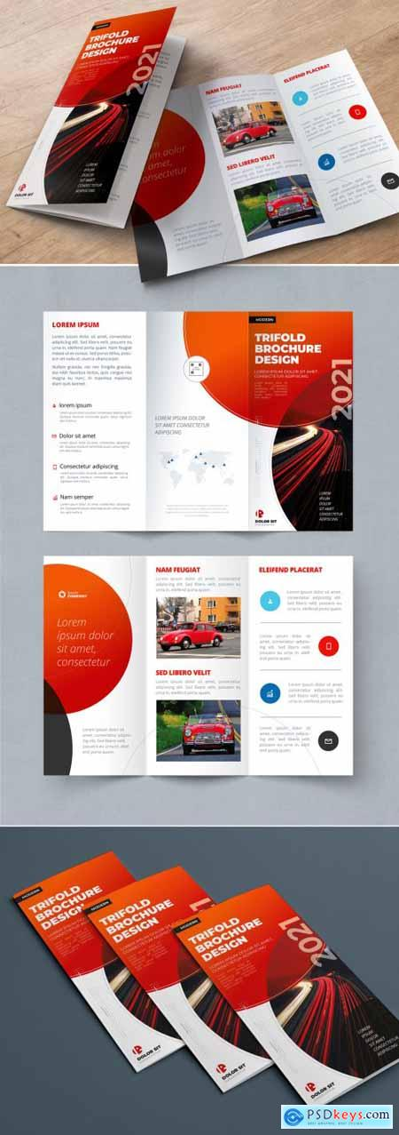 Red Trifold Brochure Layout with Circles 334853185