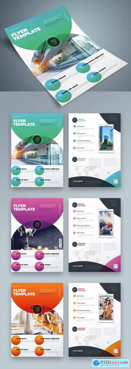 Flyer Layout with Layered Color Circle Shapes 334852885