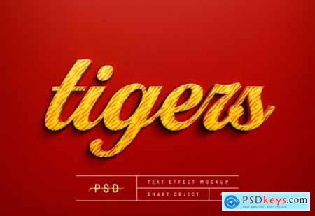 Customizable tiger red text style effect mockup template