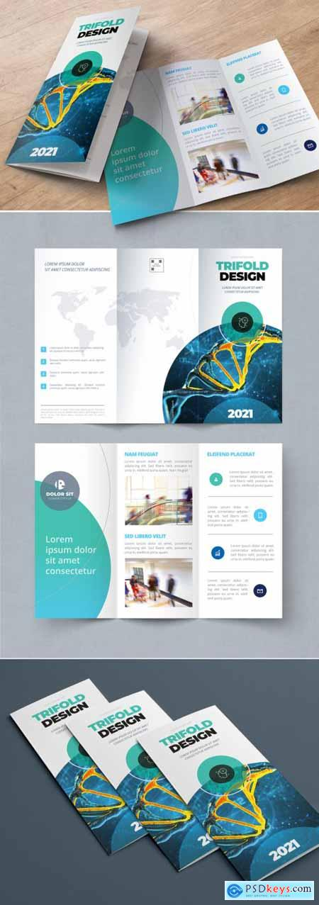 Teal and Blue Gradient Trifold Brochure Layout with Circles 334852713