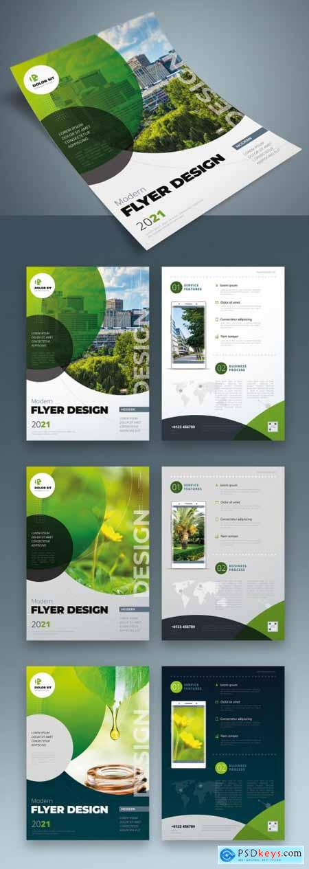 Flyer Layout with Layered Green Circle Shapes 334852824