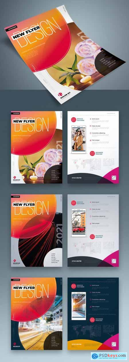 Colorful Business Flyer Layout with Circle Elements 334852941