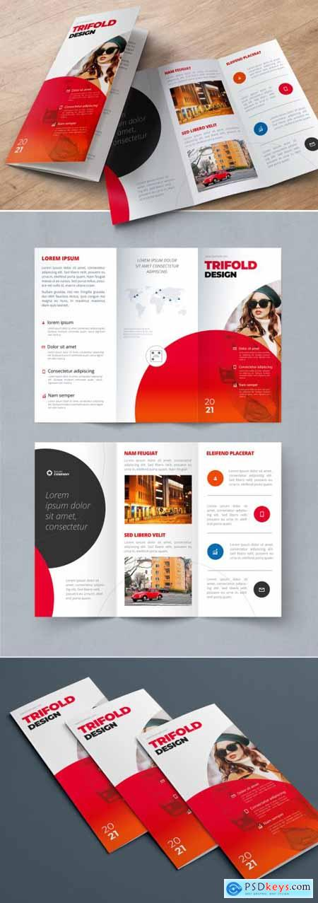 Red Trifold Brochure Layout with Circles 334852715