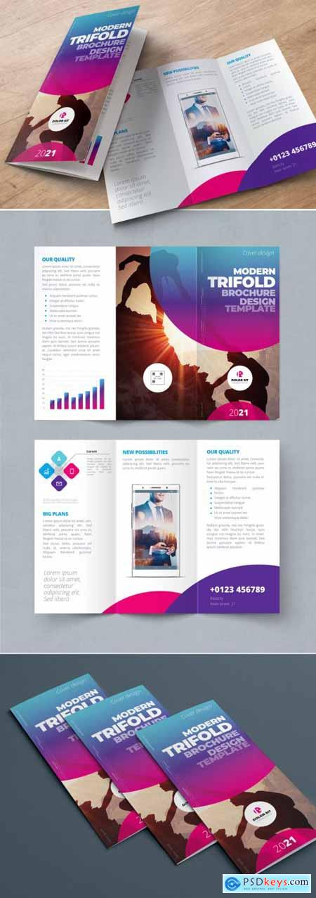 Purple, Pink, and Blue Gradient Trifold Brochure Layout with Circles 334852753