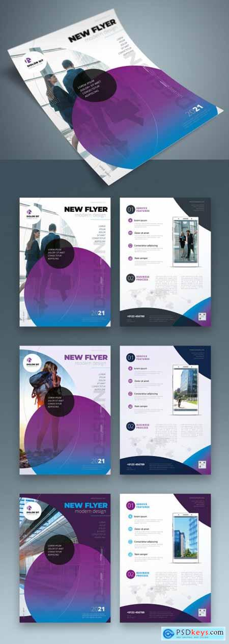 Flyer Layout with Layered Abstract Shapes 334852900