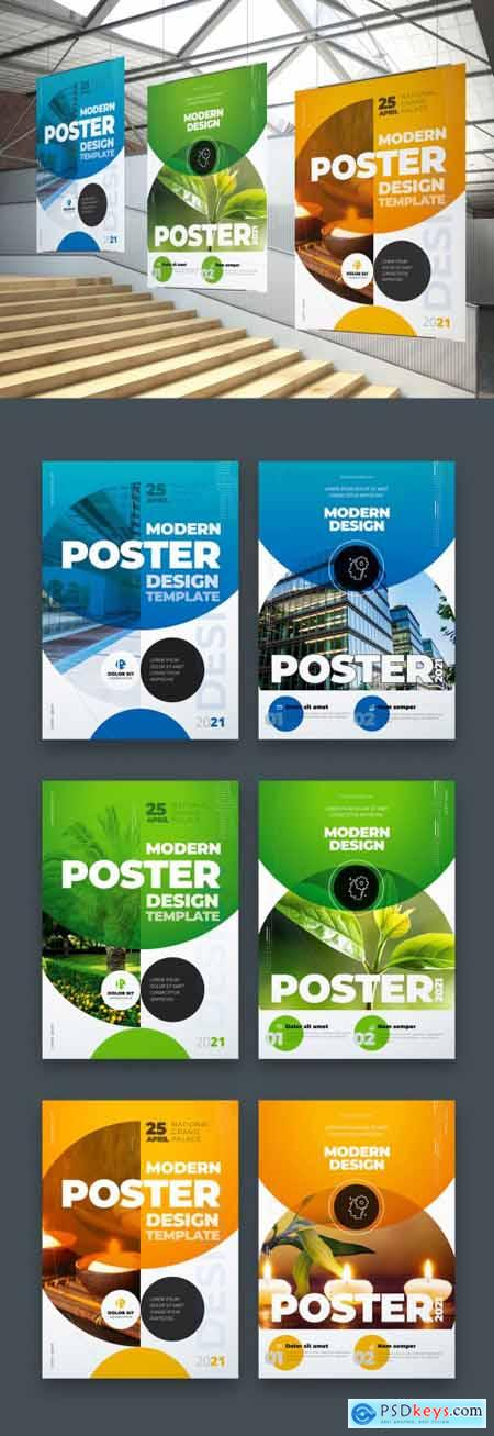 Poster Layout with Half Circle Shapes 334852754