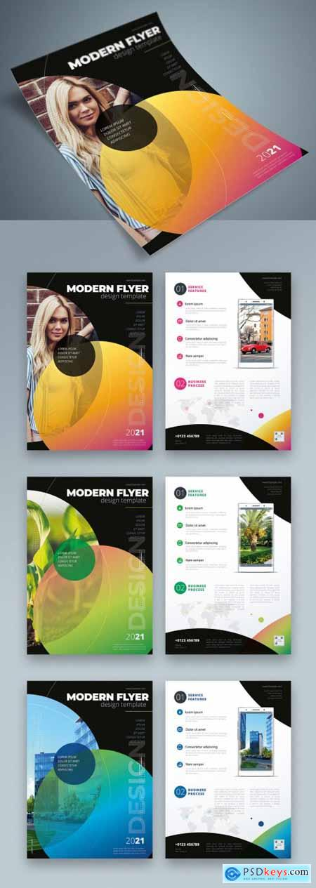 Colorful Business Flyer Layout with Dark Circle Elements 334852959