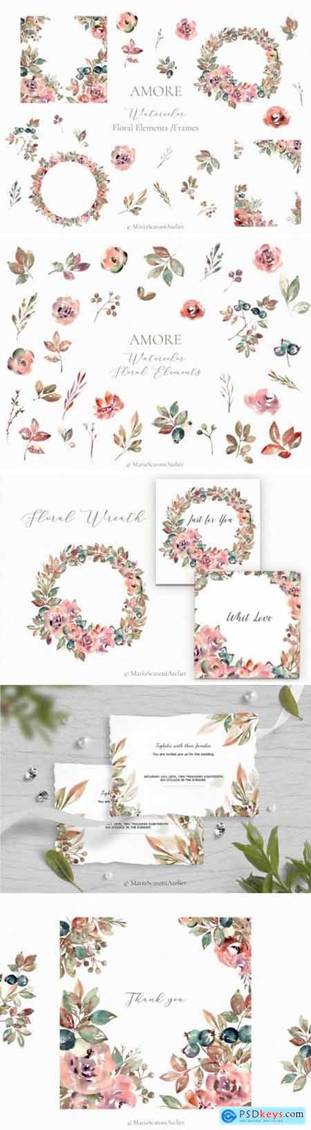 Amore Watercolor Floral Elements 3783535