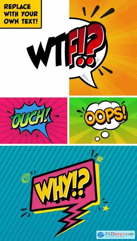 4 Retro Comic Text Effects 336446985