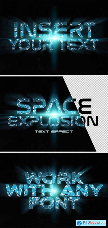 Blue Crackle Text Effect in Space Mockup 336441246