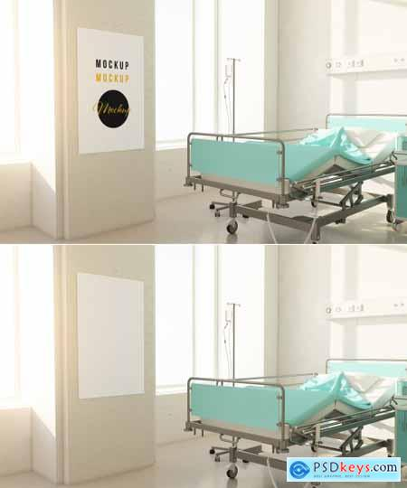 Poster Hanging In A Hospital Room Mockup 336522520 Free