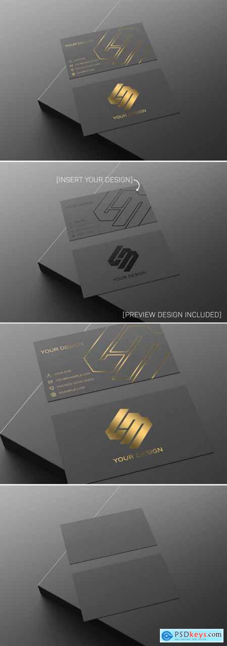 Black and Gold Business Card Mockup 336442248