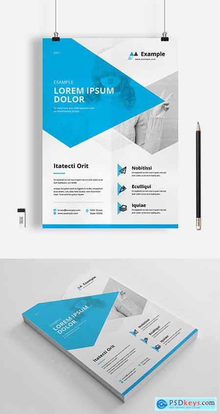 Business Flyer Layout with Blue Overlay Elements 333289457