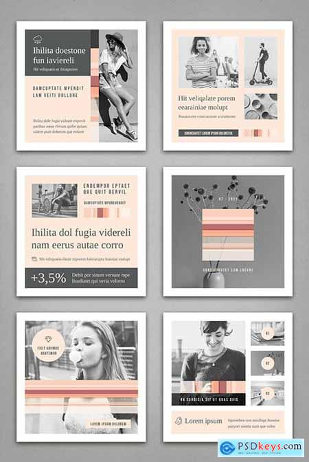 Social Media Post Layouts in Pale Pink and Gray 336176324