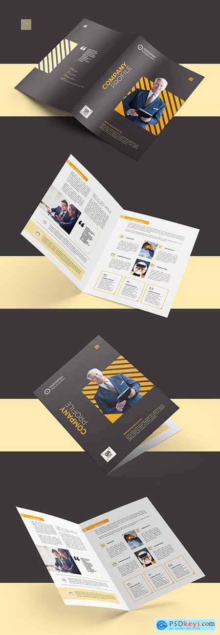 Bifold Brochure Layout with Orange Accents 290594697