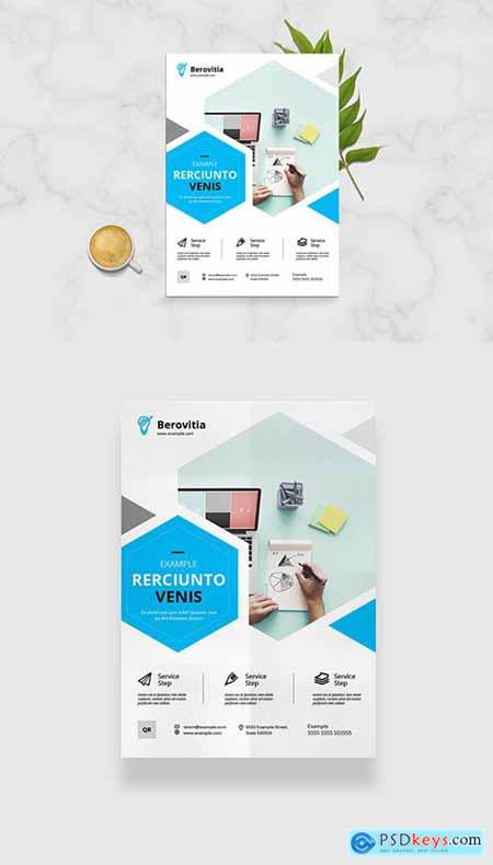 Business Flyer Layout with Blue Hexagonal Elements 333294147