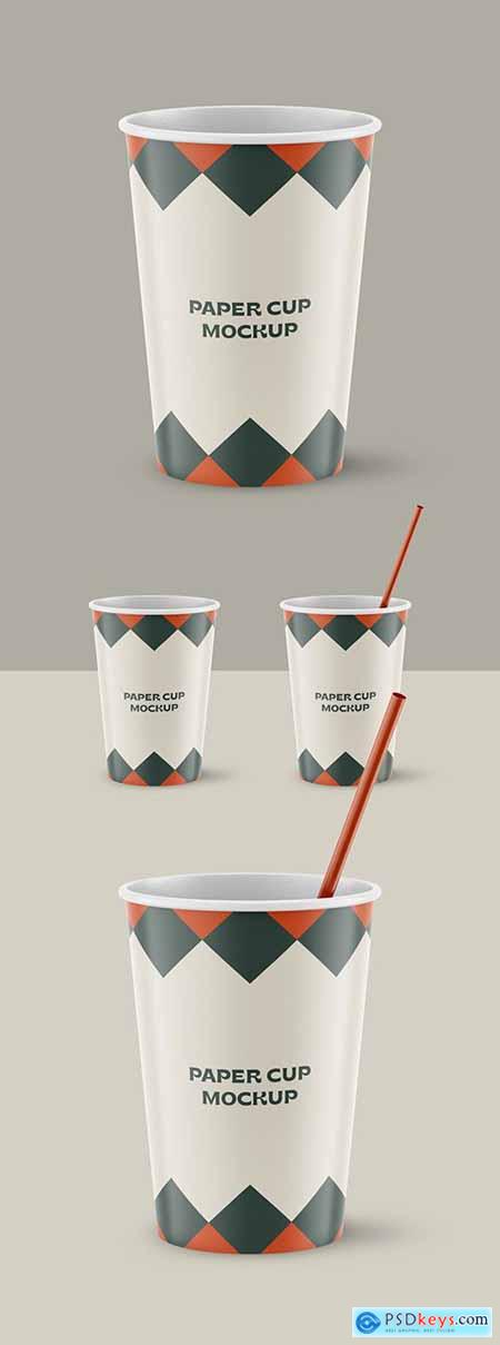 Two Realistic Paper Cups with Straw Mockup 334549162