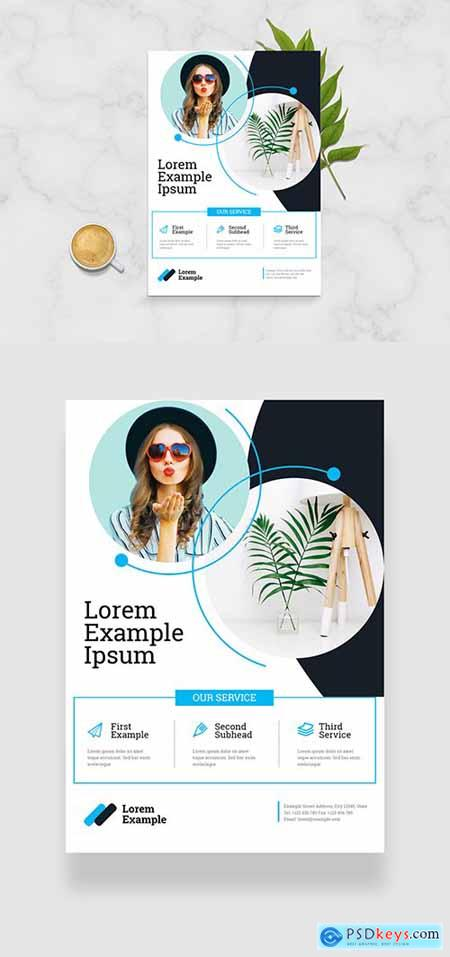 Flyer Layout with Blue Geometric Accents 334206198