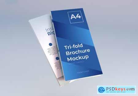 Realistic a4 trifold brochure mockup