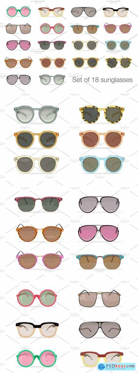 Set of 18 hipster sunglasses 522058