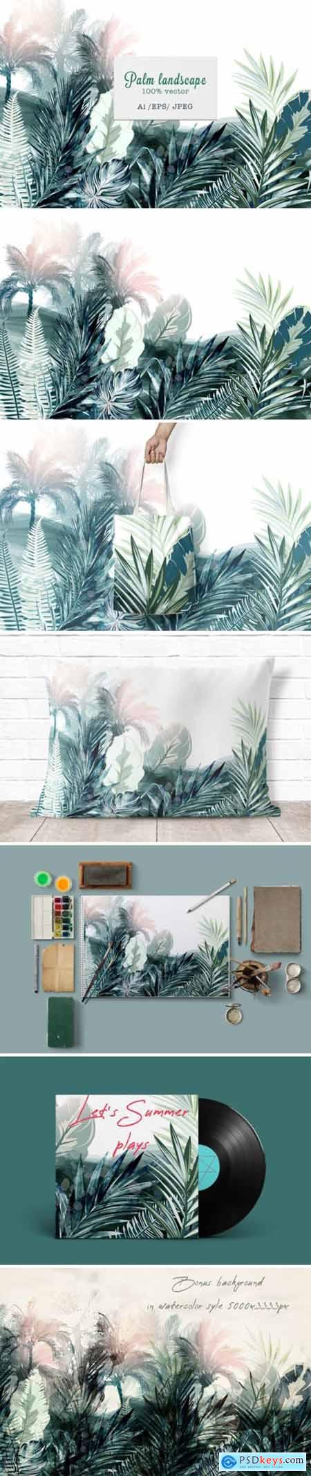 Tropical Landscape Vector Illustration 3799965