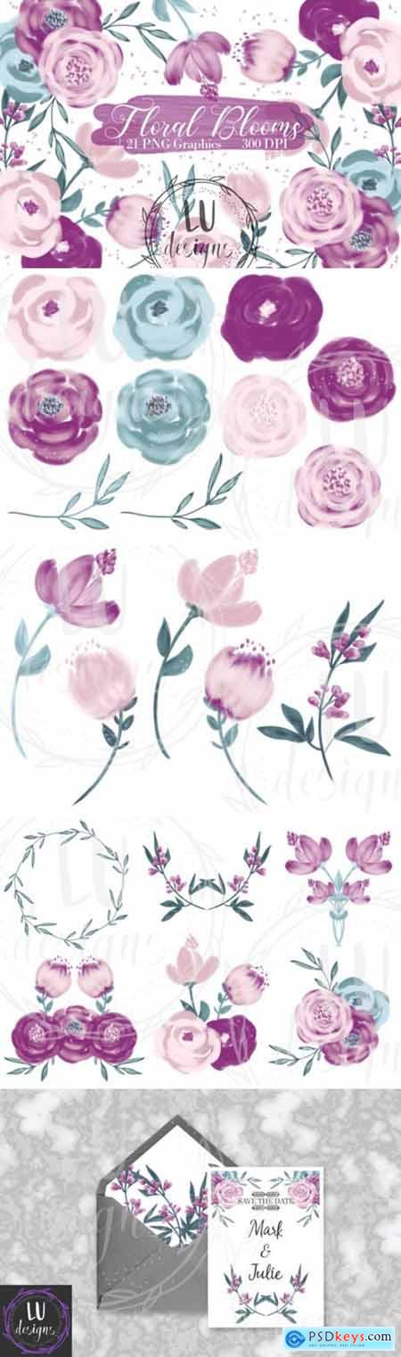 Flowers Clipart, Burgundy Floral Graphic 3826019