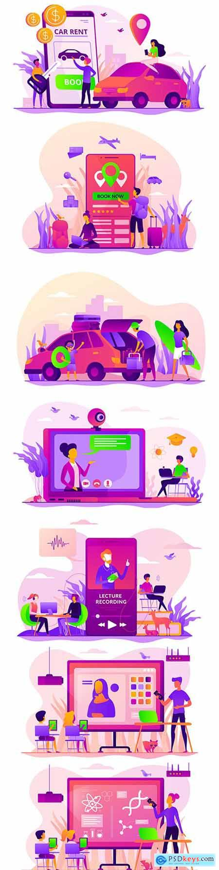 Science and online lessons education flat concept illustrations