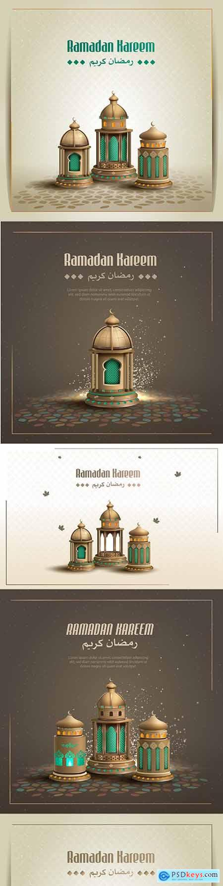 Ramadan Kareem Islamic design greeting with beautiful lantern