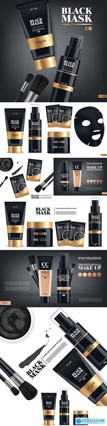 Realistic black mask and tonal makeup cream