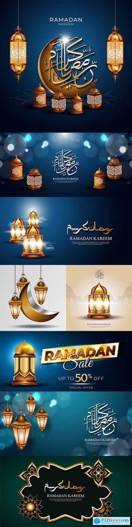 Ramadan Kareem with shining hanging gold lights 3