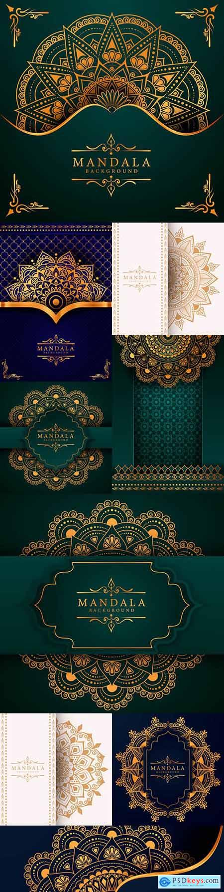 Mandala creative luxury blue and green design background 5