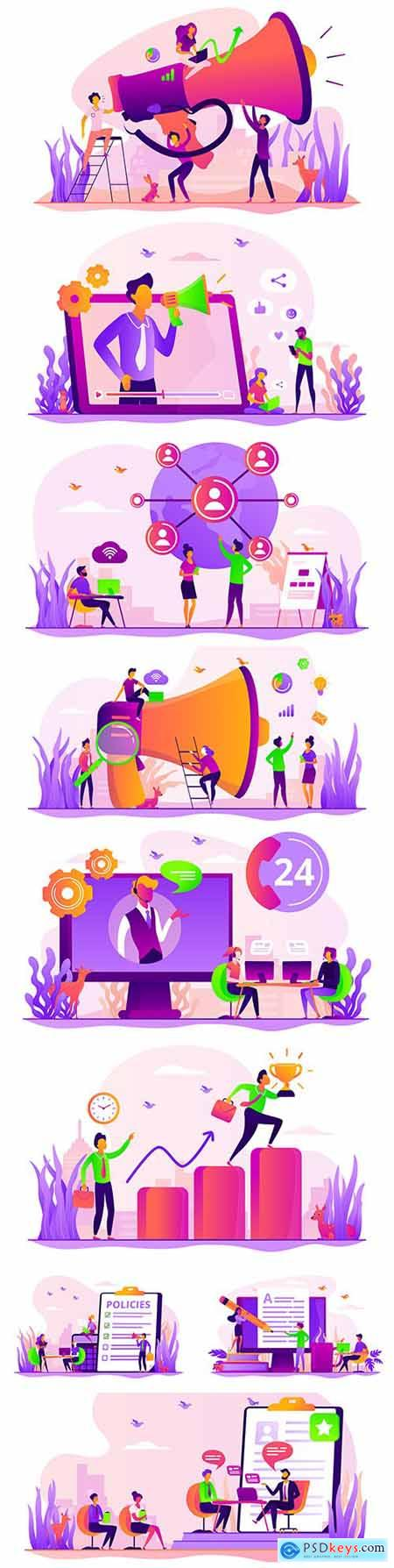 Social network and marketing team flat concept illustrations