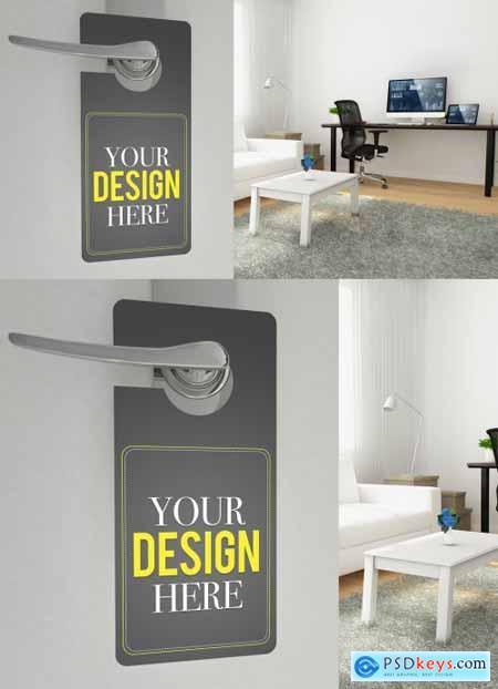 Do Not Disturb Door Hanger Mockup with Home Office Background 337072583