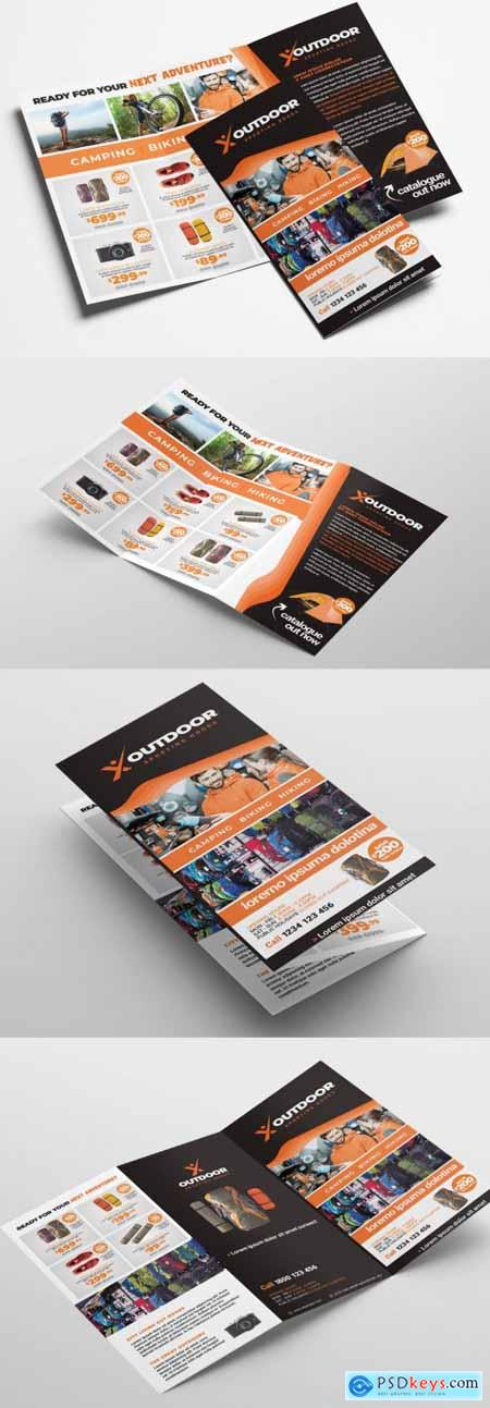 Orange and Brown Trifold Brochure Layout 329609979