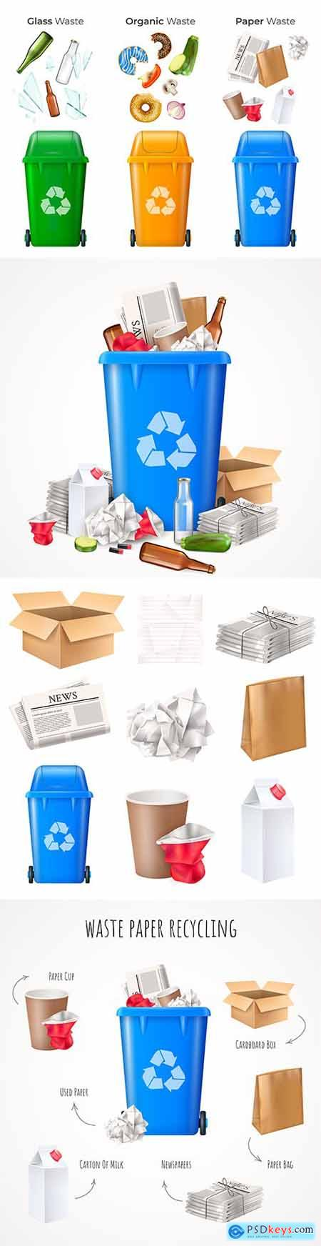 Recycling waste paper and waste for recycling