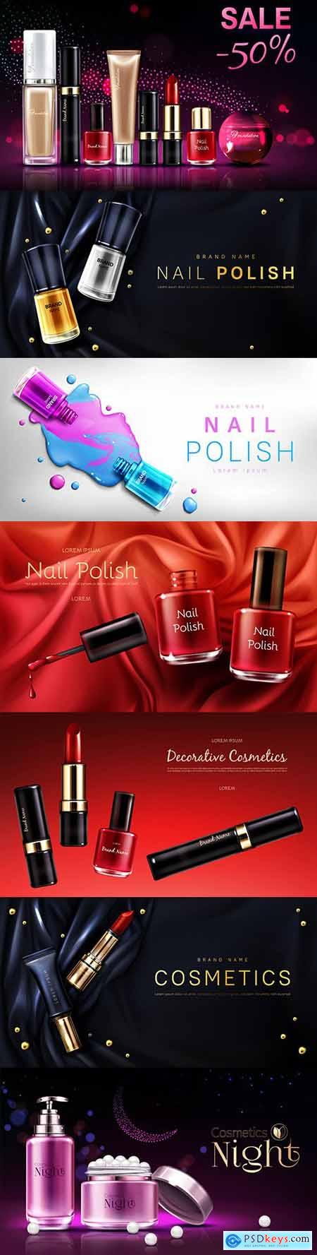 Women s decorative cosmetics products realistic advertising banner