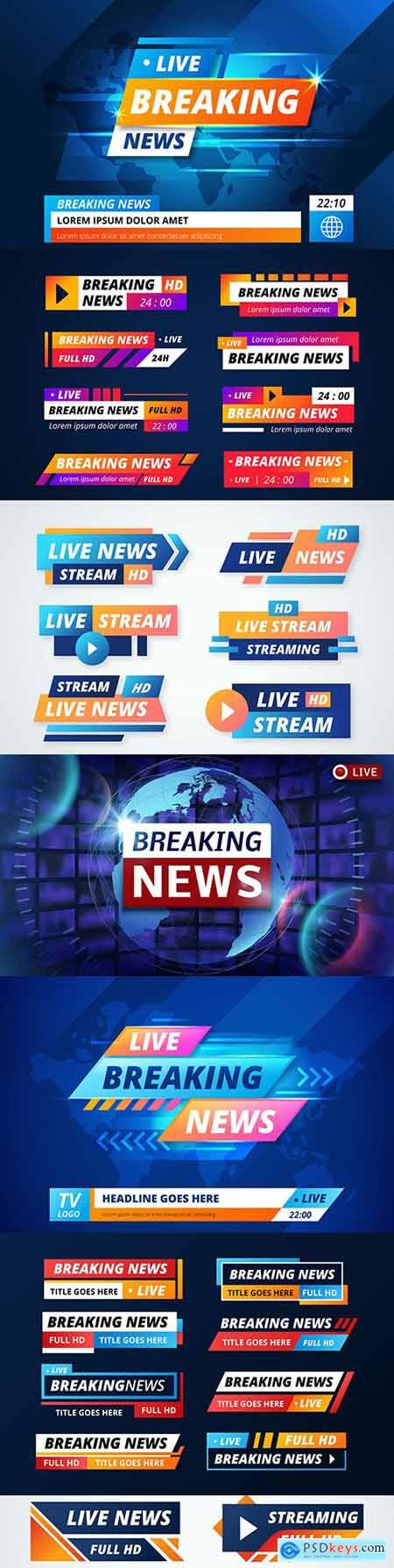 Top news live broadcast banners futuristic background