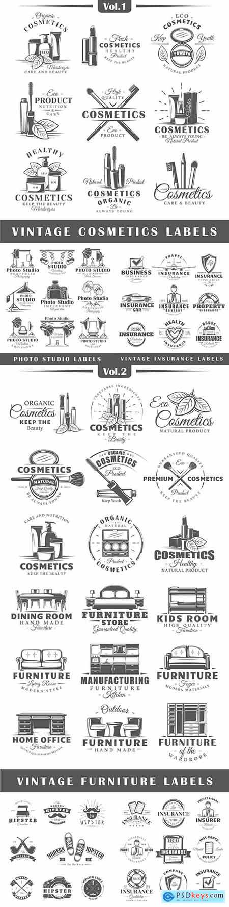 Vintage design collection emblem and logo design