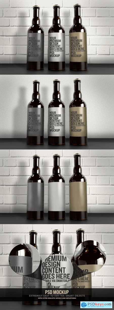 3 Beer Bottles Mockup with White Brick Wall