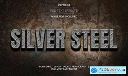 Silver Steel Text Effects Style Premium