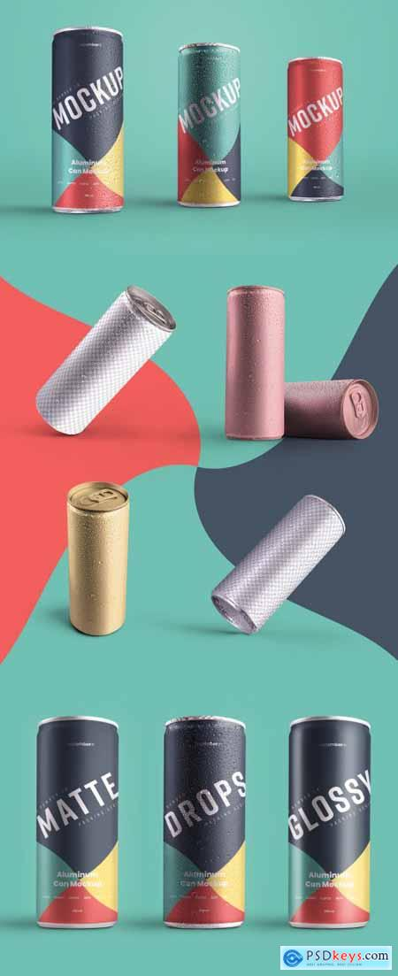 6 Aluminum Cans with Water Drops Mockup 338905731